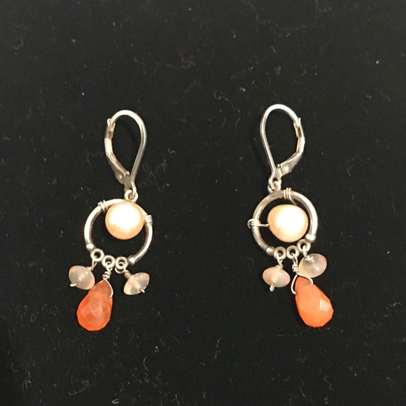Jewelry - Pearl Wire Stone Wire Drop Earrings